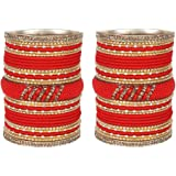 MUCH-MORE Colorful Lac Matt Metal Bangles for Women and Girls