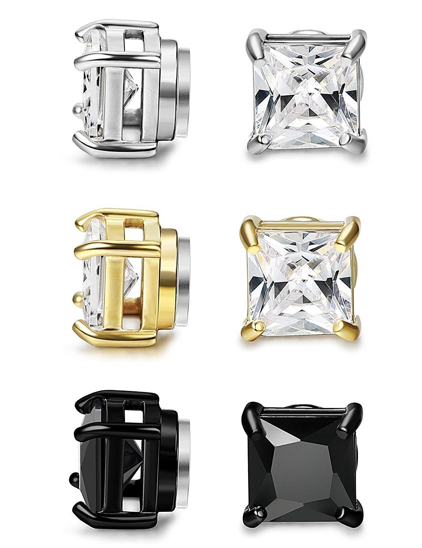 BESTEEL 3Pairs Stainless Steel Earrings Magnetic for Men Women Stud Earrings Clip Zircon Non Piercing 5-8MM