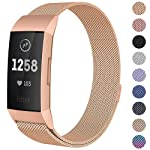 Milanese Mesh Metal Bands Compatible for Fitbit Charge 3 / Charge 3 SE Bands Women Men Small/Large, Replacement Stainless...