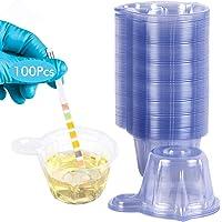 Wandefol Lot de 100 Tasse à Urine, 50 ml Bouteille d'échantillon d'urine Coupelles Plastique Jetable pour Test d'ovulation/Test de Grossesse/Test d'urin