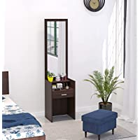 Bluewud Adaly Dressing Table/Mirror with Drawer and Storage Shelf (Adaly Wenge)
