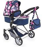 Bayer Design 18169AA City Neo Puppenwagen mit Wickeltasche und Einkaufskorb / umwandelbar in einen Sportwagen / höhenverstellbar / Design: Stern / modern, dunkelblau, pink, rosa