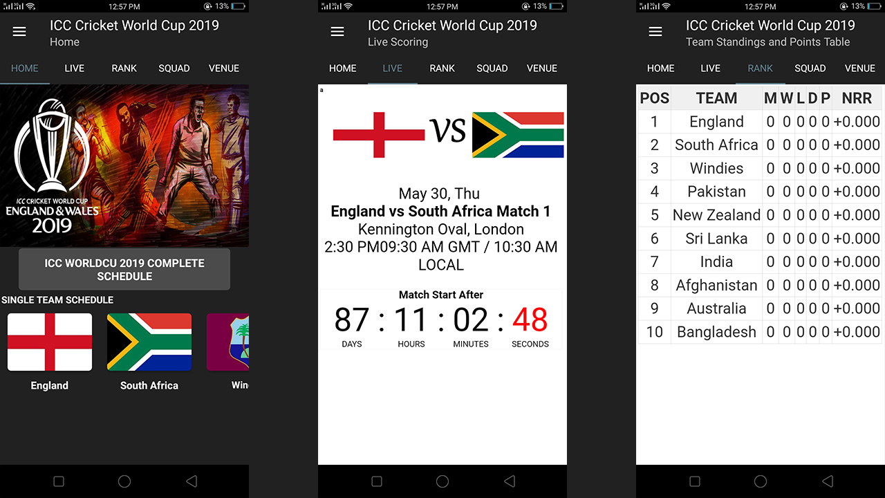 Cricket World Cup 2019 Schedule Amazon Co Uk Appstore For