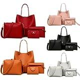 Handbags & Shoulder Bags PU Leather Handbag Messenger Bag Shoulder Bag Card Purse 4 Pcs Set Daily Zipper Backpack