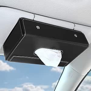 Moko Auto Sonnenblende Kosmetiktücherbox Pu Leder Auto Taschentuchbox Faltbare Hängende Taschentuchspender Mit Rutschfestem Silikonkissen Magnetschnalle Tücherbox Für Zuhause Büro Auto Schwarz Küche Haushalt