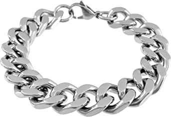 RUGGED STEEL Bracciale in acciaio inox massiccio, larghezza 14 mm, chiusura a moschettone, colore argento lucido, 17-26 cm (inclusa scatola)