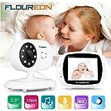 FLOUREON Babyphone Wireless mit Kamera, Baby Monitor Video Kamera 3.5 Zoll LCD Display 2-Wege Audio Gegensprechfunktion, Nachtsicht, Temperatursensor, Schlaflieder, Weiß