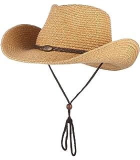 Vamuss Strohhut Cowboyhut f/ür Frauen mit Perlenbesatz und formbarer Krempe