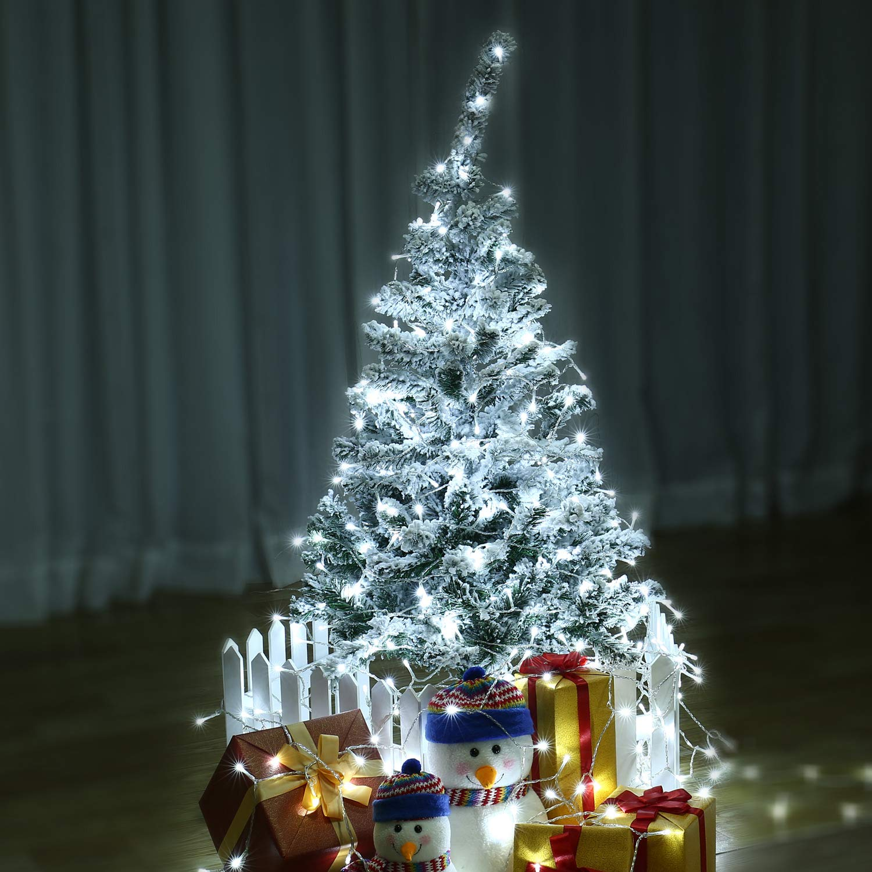 Addobbi Natalizi Luci.Qedertek Luci Natalizie Da Esterno Catena Luminosa 10m 100 Led Filo Trasparente Bianco 8 Mode Di Lampeggiata Luci Bianco Per Albero Di Natale