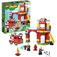 LEGO 10903 Duplo Town La Caserne De Pompiers avec Jouet Camion, Lumière, Son et 2 Figurines, Jeu de Construction Enfants…