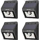 Mr Beams Solar Wedge 8 LED Security Outdoor Motion Sensor Wall Light, 4-Pack, Black