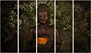 999Store Multiple Frames Printed Wooden Frame Buddha Wall Art Panels for Living Room Painting - 5 Frames (130 X76 Cms)