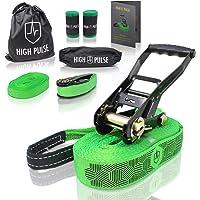 High Pulse® Slackline kit|15m -Set completo di cricchetto e protezione, corda ausiliaria, corda ausialiaria…