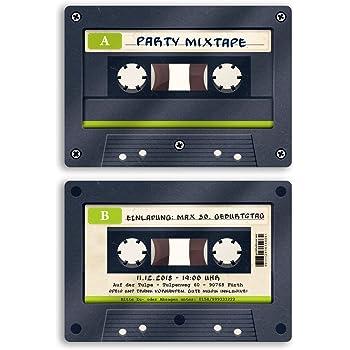 als Retro Karte Konzertkarten Vintage Konzert Disko Kassette 80 St/ück Einladungskarten zum Geburtstag