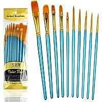 10PCS Paint Brushes Set Nylon Hair Brush for Acrylic Painting Oil Painting Watercolor Painting Gouache Painting Face Painting (Blue)
