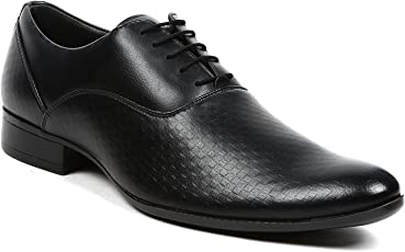 NOHIDE Black Vegan's Mens/Boys Leather Embossed Oxford Formal Shoes For Office / Meetings/ Evening Wear PETA Approved (LACE-UP)