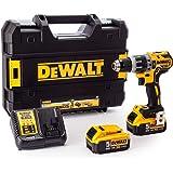 DeWalt 18V 13mm Compact Hammer Drill, 2 x 5.0Ah batteries, charger and kit box, Yellow/Black, DCD796P2-GB, 3 Year Warrnty