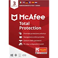McAfee Total Protection 2021, 3 Dispositivi, 1 Anno, Software Antivirus, Mobile, Gestore Password, Multi-Dispositivo…