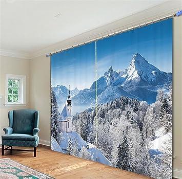 KKLL Vorhnge Polyester 3D Schnee Berg Wald Digitaldruck Wohnzimmer Fenster Verdunkelung Lrm Verringerung Warm Schutz Schlafzimmer Vorhang