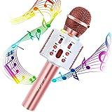 Microphone Karaoké Bluetooth, FISHOAKY 4 en 1 Micro Enfant pour Chanter Fille Garcon Avec Lumières LED Enregistrement Micro S