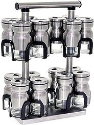 Liying 16-Jars Revolving Spice Rack Organizer, Spinning Countertop Herb and Spice Rack Organizer with 16 Glass Jar Bottles an