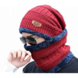 PinKit Men's Women's soft-spun acrylic Winter Beanie Cap Neck Scarf Set Warm Knitted Fur Lined (2 Pieces, red)