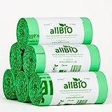 8 Litri x 150 sacchetti allBIO Sacchetti Pattumiera Organico 100% Biodegradabili e Compostabili 8 Litri / Sacchetti…
