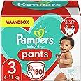 Pampers Maat 3 Baby-Dry Luierbroekjes, 180 Stuks, MAANDBOX, Eenvoudig en Leuk Verschonen Overdag en Bescherming 's Nachts (6-