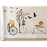 Amazon Brand - Solimo Wall Sticker for Living Room(Ride through Nature, ideal size on wall: 140 cm x 100 cm),Multicolour