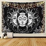 LOMOHOO Tapiz Tarot Sol y Luna Tapiz Psicodélico Colgante de Pared Celeste Tapices de Pared Indio Mandala Bohemio (A--Sun and