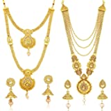 Sukkhi Traditional Pearl Gold Plated Long Haram Necklace Set Combo For Women (CBN83437)