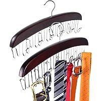 Cintres à cravate en bois, Ohuhu 2 paquets cintres de ceinture rotatif Twirl 24 organisateur de cravate support de…