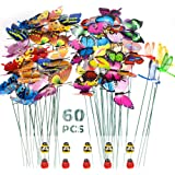 SNAILGARDEN Juego de 60 Estacas de Mariposas de Jardín, Mariposas de Jardín, Libélulas, Adornos de Mariquita en Palos, para D