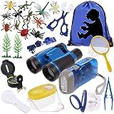 Anpro 25 in 1 Giocattoli per Avventurose Esplorazioni della Natura per Bambino, Avventure all'Aperto per Bambino, Binocolo, F