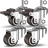 GBL® 4 Zwenkwielen 25mm Bout M8x20mm TPR Rubber | Zwaarlastwielen 40KG - Meubelzwenkwielen Voor Meubels | Zwenkwieltjes voor