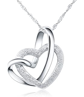 5b1d15cdee 925 Sterling Silber Doppel liebe Herzen Halskette mit 45cm sterling Silber  kette Schmuck