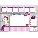 Schreibtischunterlage aus Papier für Kinder & Erwachsene | EINHORN | 30 Blatt | Ideal als Notizblock, Organizer, Wochenplaner & Tagesplaner | Papierunterlage zum Abreißen | DIN A3 groß