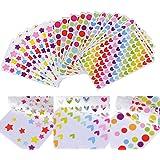 3618 Gommettes 54 Feuilles Autocollants Adhésifs en Coeur Étoiles Pois Colorés Stickers pour Album Scrapbooking DIY Enfant