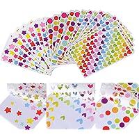 (15 x 9CM) 3618 Gommettes 54 Feuilles Autocollants Adhésifs en Coeur Étoiles Pois Colorés Stickers pour Album…