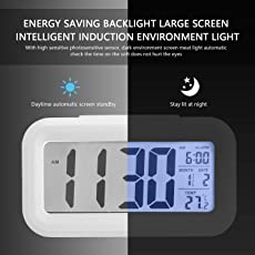 Bincy Smart Digital Alarm Clock with Automatic Sensor Backlight, Snooze Alarm, Date and Temperature for Home and Office (White)