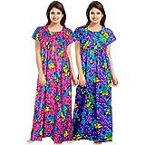 Mudrika Women's Full Length Cotton Nighty (Combo Pack of 2 pcs)