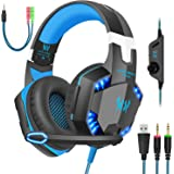Gaming Headset with Mic for PC,PS4,Xbox One,Over-Ear Headphones with Volume Control LED Light Cool Style Stereo,Noise Reducti