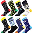 Men's Fun Dress Socks, Colorful Funky Socks for Men, Fancy Novelty Funny Patterned Casual Combed Cotton Office Socks,Mid Calf