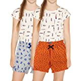 PP Jeans Shorts - Cotton Printed Shorts Capri Casual/Night wear Shorts for Girls & Kids(Pack of 2)