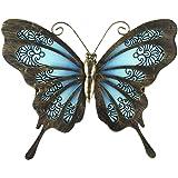 Liffy Décorations de clôture de jardin en plein air d'art mural de papillon en métal décorations en verre suspendues pour pat