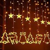 Christmas lights Window Curtain String Lights, 8 Flashing Modes, 6 Star, 2 Christmas Tree, 2 Small Bell and 2 Christmas Deer