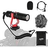Moukey MCm-1 Microfono per videocamera universale con ammortizzatore, anti-vento palla sintetico e copertura in schiuma…