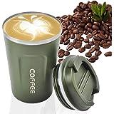 MOMSIV - Taza de café reutilizable al vacío a prueba de fugas de doble pared, aislamiento de acero inoxidable ecológico, taza