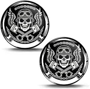 2 X Silicone 3d Gel Sticker Stickers Motorsport Skull Wings Skull Motorcycle Motorbike Bicycle Skate Window Door Sticker Pc Tablet Laptop Tuning P150 Auto