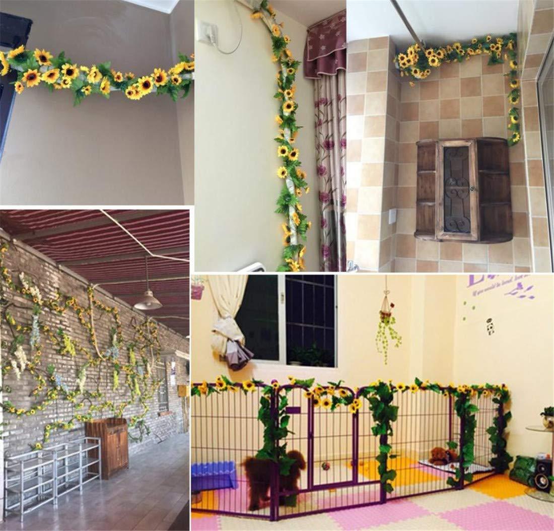 Eazyhurry 260 cm Artificiales Girasol Vid Flor Artificial Planta Vid Artificial Flores para Guirnalda de la Boda Casa…